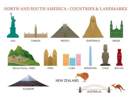 Continente de América y países de Australia, lugares famosos, edificios, viajes y atracciones turísticas