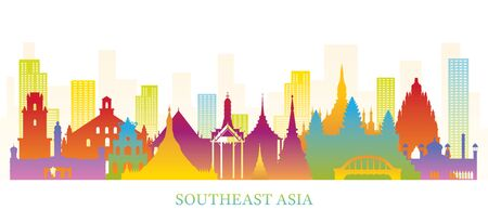 Southeast Asia Skyline Landmarks Colorful Silhouette, Famous Place and Historical Buildings, Travel and Tourist Attraction Иллюстрация