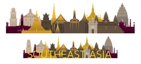 Southeast Asia Skyline Landmarks with Text, Famous Place and Historical Buildings, Travel and Tourist Attraction