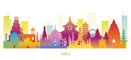 Asia Skyline Landmarks Colorful Silhouette, Famous Place and Historical Buildings, Travel and Tourist Attraction