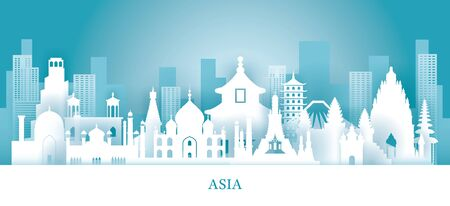 Asia Skyline Landmarks in Paper Cutting Style, Famous Place and Historical Buildings, Travel and Tourist Attraction