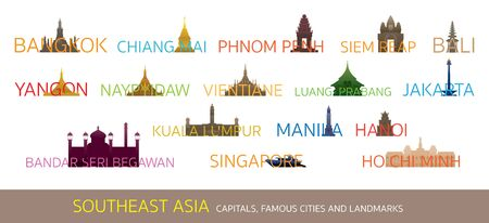 Southeast Asia Cities Landmarks with Text or Word, Capitals, Famous Place, Buildings, Travel and Tourist Attraction Illustration
