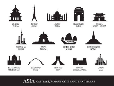 Asia Cities Landmarks Silhouette, Capitals, Famous Place, Buildings, Travel and Tourist Attraction