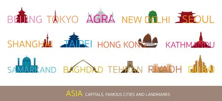Asia Cities Landmarks with Text or Word, Capitals, Famous Place, Buildings, Travel and Tourist Attraction