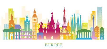 Europe Skyline Landmarks Colorful Silhouette, Famous Place and Historical Buildings, Travel and Tourist Attraction Archivio Fotografico - 130990492