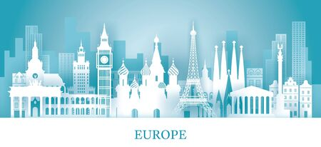 Europe Skyline Landmarks in Paper Cutting Style, Famous Place and Historical Buildings, Travel and Tourist Attraction Archivio Fotografico - 130990516