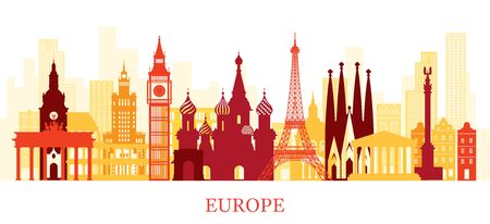 Europe Skyline Landmarks Colorful Silhouette, Famous Place and Historical Buildings, Travel and Tourist Attraction Archivio Fotografico - 130990521