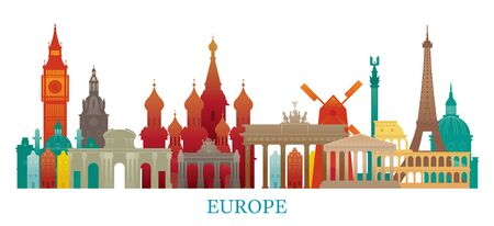 Europe Skyline Landmarks Colorful Silhouette, Famous Place and Historical Buildings, Travel and Tourist Attraction Archivio Fotografico - 130990523