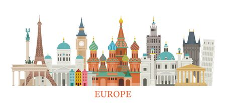 Europe Skyline Landmarks in Flat Style, Famous Place and Historical Buildings, Travel and Tourist Attraction