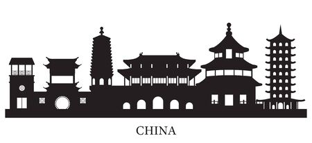 China Skyline Landmarks Silhouette Background, Famous Place and Historical Buildings, Travel and Tourist Attraction