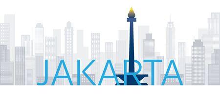 텍스트 또는 단어, 유명한 장소 및 역사적 건물, 여행 및 관광 명소가 있는 인도네시아 자카르타 스카이라인 랜드마크 벡터 (일러스트)
