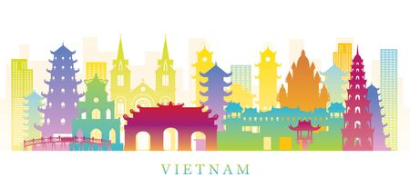 Vietnam Skyline Landmarks Colorful Silhouette Background, Famous Place and Historical Buildings, Travel and Tourist Attraction