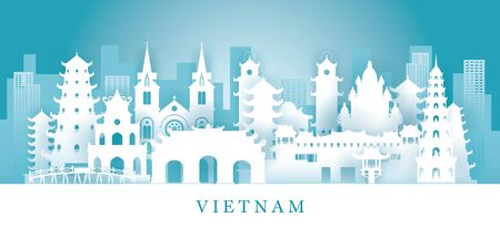Vietnam Skyline Landmarks in Paper Cutting Style, Famous Place and Historical Buildings, Travel and Tourist Attraction