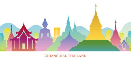 Chiang Mai, Thailand Skyline Landmarks Colorful Silhouette Background, Famous Place and Historical Buildings, Travel and Tourist Attraction Illustration