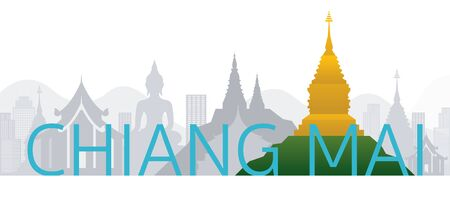 Chiang Mai, Thailand Skyline Landmarks with Text or Word, Famous Place and Historical Buildings, Travel and Tourist Attraction
