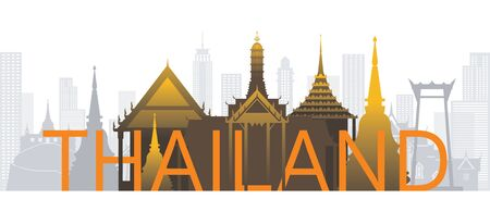 Thailand Skyline Landmarks with Text or Word, Famous Place and Historical Buildings, Travel and Tourist Attraction
