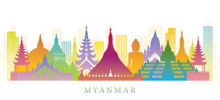 Myanmar Skyline Landmarks Colorful Silhouette Background, Famous Place and Historical Buildings, Travel and Tourist Attraction