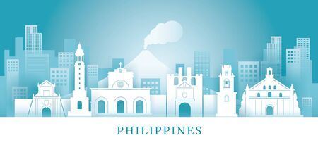 Philippines Skyline Landmarks in Paper Cutting Style, Famous Place and Historical Buildings, Travel and Tourist Attraction