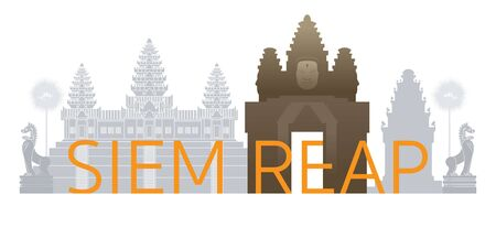 Siem Reap, Cambodia Skyline Landmarks with Text or Word, Famous Place and Historical Buildings, Travel and Tourist Attraction Illustration