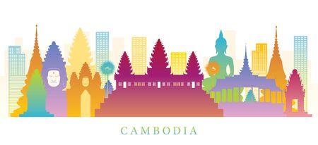 Punti di riferimento dello skyline della Cambogia Sfondo colorato della siluetta, luogo famoso ed edifici storici, attrazione turistica e di viaggio
