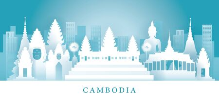 Cambodia Skyline Landmarks in Paper Cutting Style, Famous Place and Historical Buildings, Travel and Tourist Attraction Ilustrace