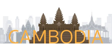 Cambodia Skyline Landmarks with Text or Word, Famous Place and Historical Buildings, Travel and Tourist Attraction Illustration