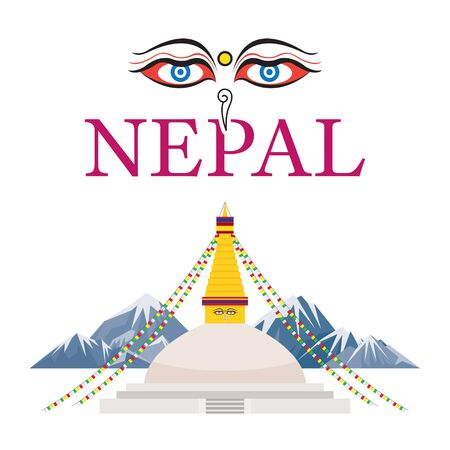 Nepal Landmarks with Eyes of the Buddha, Mount Everest Background, Famous Place and Historical Buildings, Travel and Tourist Attraction Standard-Bild - 132838160