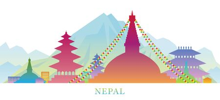 Nepal Skyline Landmarks Colorful Silhouette Background, Famous Place and Historical Buildings, Travel and Tourist Attraction Stock Vector - 132838168