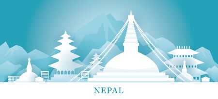 Nepal Skyline Landmarks in Paper Cutting Style, Famous Place and Historical Buildings, Travel and Tourist Attraction