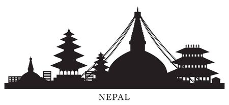 Nepal Skyline Landmarks Silhouette Background, Famous Place and Historical Buildings, Travel and Tourist Attraction