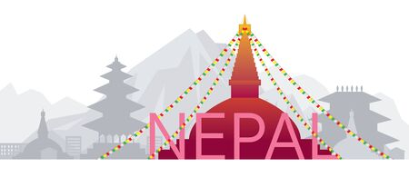 Nepal Skyline Landmarks with Text or Word, Famous Place and Historical Buildings, Travel and Tourist Attraction