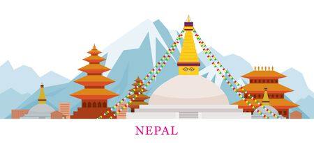 Nepal Skyline Landmarks in Flat Style, Famous Place and Historical Buildings, Travel and Tourist Attraction Ilustração