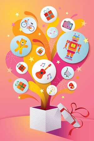 Gifts Icons Popping Out from Opened Gifts Box , Celebration Party Event, Happy New Year