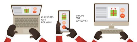 Santa Claus Hands Use Computer Smartphone Device, Buying and Selling, Online Shopping Concept, Christmas and Happy New Year Ilustracja