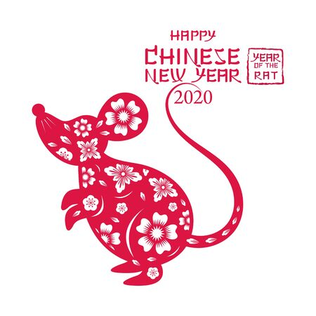 Chinese New Year 2020 Year of the Rat, Paper Cutting Symbol, Zodiac, Holiday, Greeting and Celebration