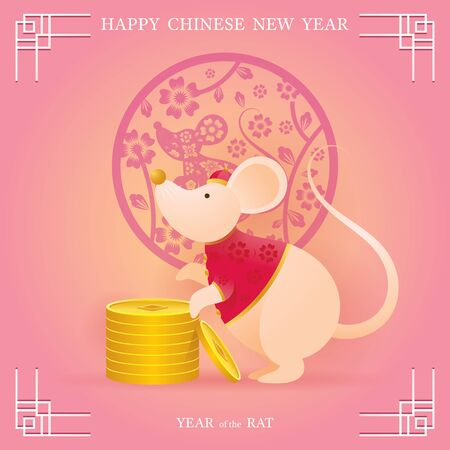 Chinese New Year 2020 Year of the Rat, Cartoon Character with Gold Coins, Zodiac, Holiday, Greeting and Celebration Ilustracja