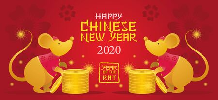 Chinese New Year 2020 Year of the Rat, Gold Cartoon Character, Zodiac, Holiday, Greeting and Celebration