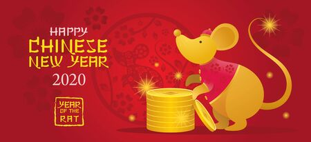 Chinese New Year 2020 Year of the Rat, Gold Cartoon Character, Zodiac, Holiday, Greeting and Celebration Ilustracja