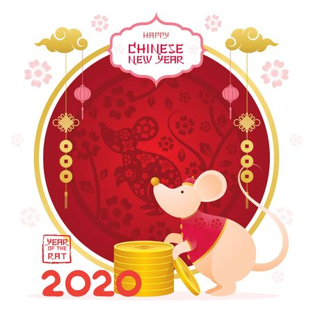 Chinese New Year 2020 Year of the Rat, Cartoon Character Round Frame, Zodiac, Holiday, Greeting and Celebration