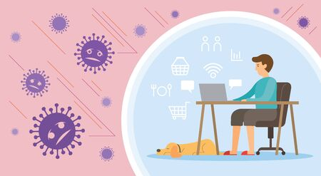 Men Working at Home with Dog, Prevention of Covid-19, Coronavirus Disease Background, Health Care and Safety