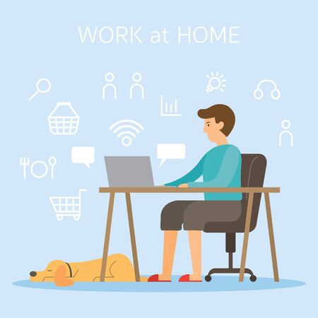 Men use Computer and Internet Working at Home, Work Online, Online Shopping, Delivery Concept