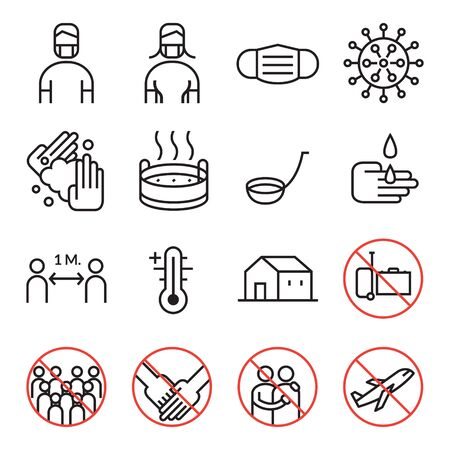 Prevention of Covid-19 Line Icons B&W Set, Coronavirus Disease, Health Care and Safety Ilustracja