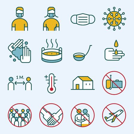 Prevention of Covid-19 Line Icons Set, Coronavirus Disease, Health Care and Safety