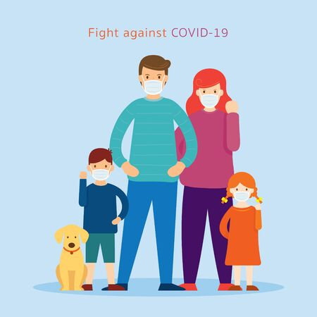 Family wearing Face Mask Fight Against Covid-19,Coronavirus Disease, Health Care and Safety