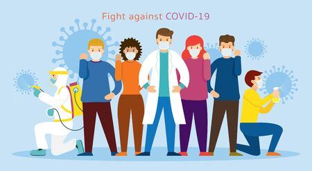 People and Doctor wearing Face Mask Fight Against Covid-19, Coronavirus Disease, Health Care and Safety Vetores