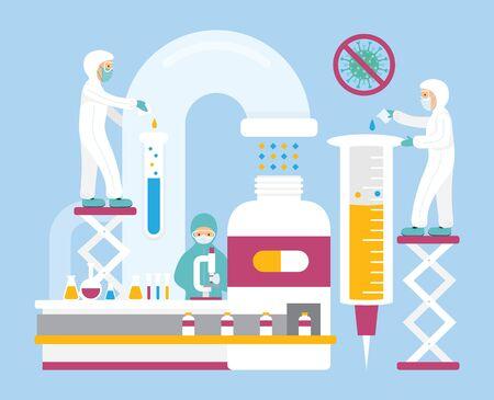 People Work in Laboratory Research for Antiviral,Covid-19, Coronavirus Disease, Medicine, Vaccine,