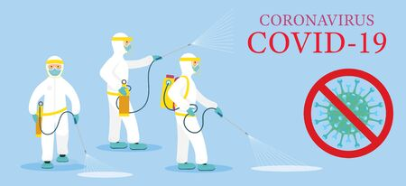People in Protective Suit or Clothing, Spray to Cleaning and Disinfect Virus, Covid-19, Coronavirus Disease, Preventive Measures Ilustracja