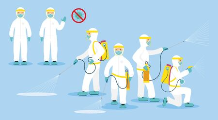 People in Protective Suit or Clothing, Spray to Cleaning and Disinfect Virus, Covid-19, Coronavirus Disease, Preventive Measures Illusztráció