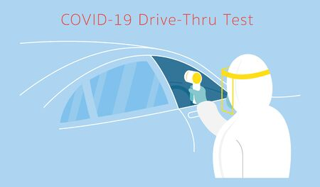 People in Protective Suit use Thermoscan to Check Covid-19, Coronavirus, Drive thru Test