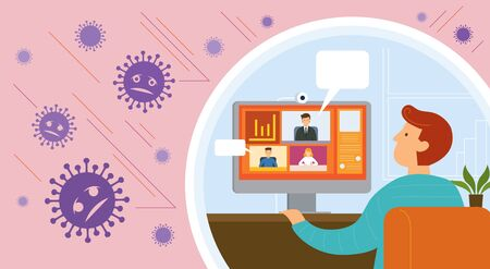 Working from Home, Video Conference, Prevention of Covid-19, Coronavirus Disease Background, Health Care and Safety